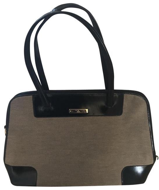 Item - Monogram Inside Lining Monogram Oin Gold On Outside Of Purse Large Zipper Pocket Inside Small Secret Black and Textured Grey Patent Leather Fabric Satchel