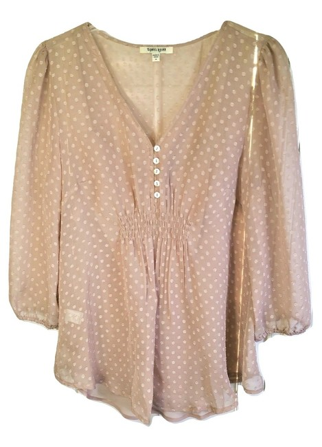 Item - Antique Rose Pink Muted Polka Dot V-neck Chiffon Tunic Size 8 (M)