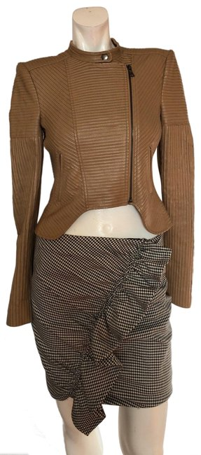 Item - Camel Conrad Faux Leather Striping Moto Jacket Size 00 (XXS)