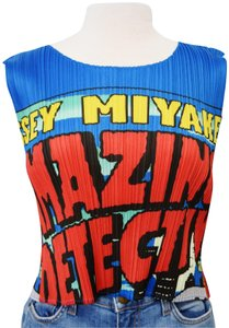 Issey Miyake Pleated Pleats Please Top Blue & Red