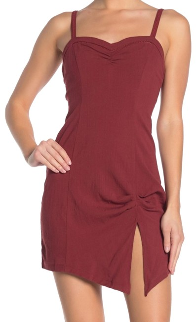 Free People Wine Bodycon Short Night Out Dress Size 12 (L) Free People Wine Bodycon Short Night Out Dress Size 12 (L) Image 1