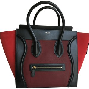 Céline Luggage Tricolor Leather Chanel Tote in Black-Red