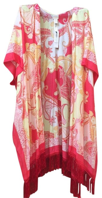 Item - Multi Color - Orange Red Yellow and Cream Paisley. Ruana Poncho/Cape Size OS (one size)