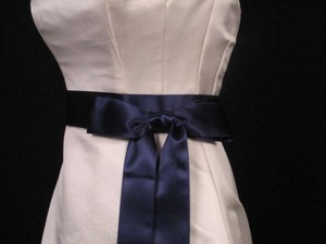 Navy Blue Ribbon Sash 2
