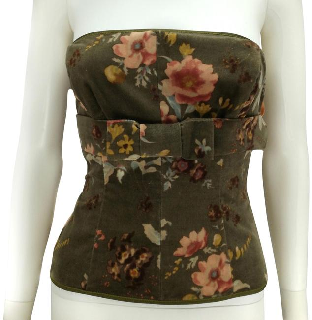 Item - Green Pink Velvet Bustier/Corset with Peony Pattern Tank Top/Cami Size 4 (S)