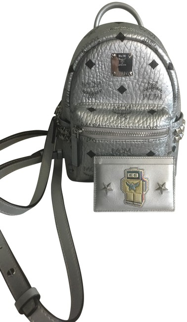Item - New Studs with Rare Robter Credit Card Wallet Silver Leather Backpack