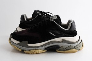 Balenciaga Black Triple S Nylon Mesh Suede and Leather Sneakers Shoes