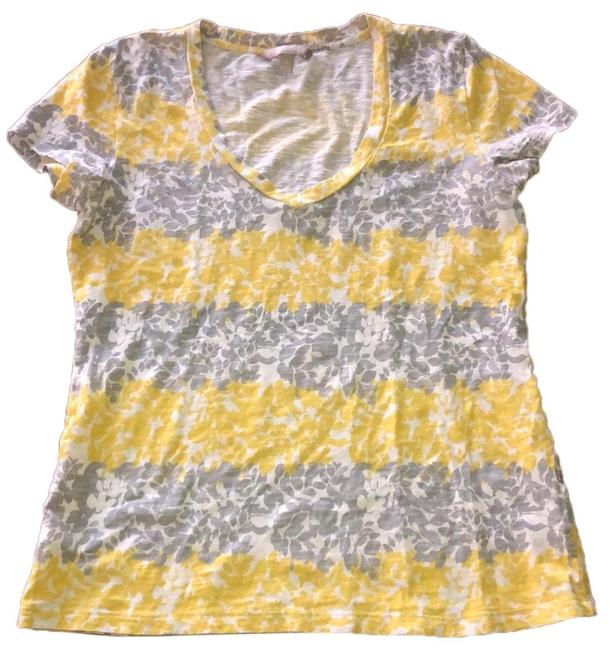 Item - White Gray and Yellow Flowered V Neck Tee Shirt Size 10 (M)