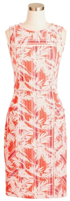 Item - Coral Sun Faded Bright Tropical Floral Sheath Mid-length Short Casual Dress Size 4 (S)