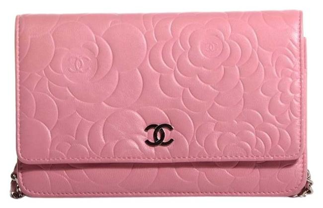 Item - Clutch Classic Flap Wallet On A Chain Woc Camellia Quilted Mini Flower Pink Silver Lambskin Leather Cross Body Bag