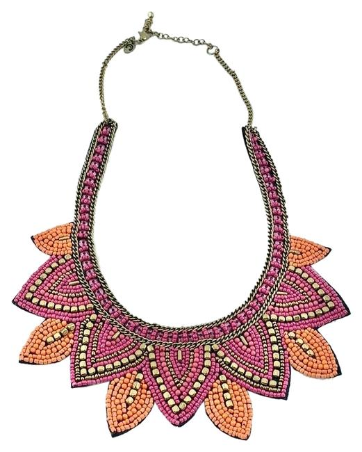 Charming Charlie Pink Orange Gold Moroccan Muse Beaded Statement Bib Necklace Charming Charlie Pink Orange Gold Moroccan Muse Beaded Statement Bib Necklace Image 1
