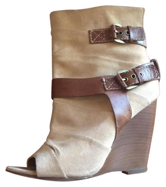 Item - Tan Brown Betty Peep Toe Boot Bootie Wedges Size EU 36 (Approx. US 6) Regular (M, B)