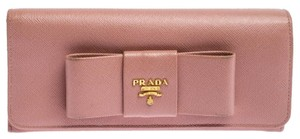 Prada Pink Saffiano Leather Bow Continental Wallet