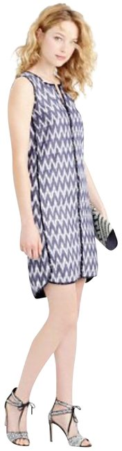 Item - Blue White Zig Zag Ikat & Short Casual Dress Size 4 (S)