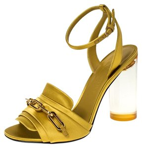 Burberry Satin Ankle Strap Yellow Sandals