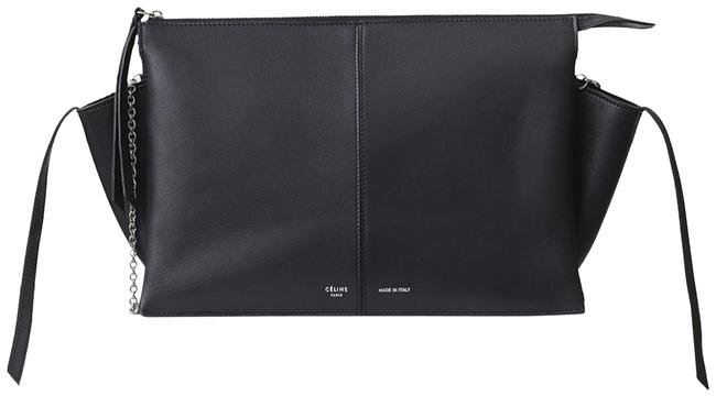 Item - Trifold On Chain Black Calfskin Leather Clutch