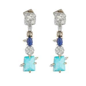 Alexis Bittar Crystal Accented Fancy Stone Dangling Post Earrings