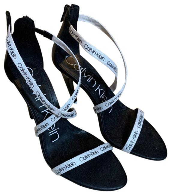 Item - Black and White Gennovah Cross Strap Sandals Size US 7.5 Regular (M, B)