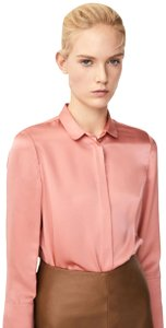 Massimo Dutti Scallops Silk Button Down Top Salmon