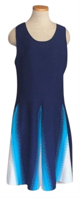 Item - Blue Triangle Jacquard Knit Large Mid-length Night Out Dress Size 12 (L)