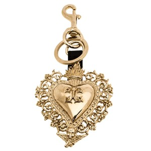 Givenchy Gold Tone Engraved Heart Key Ring
