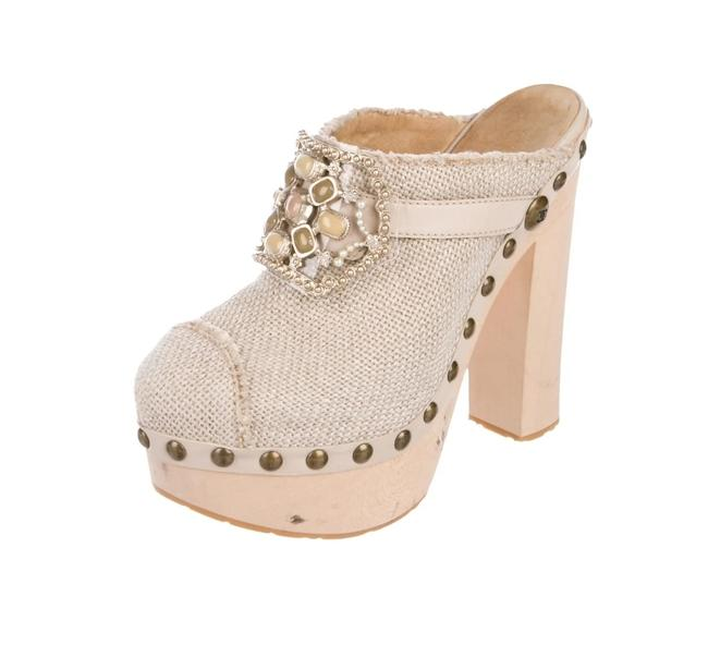 Item - Taupe Platform Mules/Slides Size US 8 Regular (M, B)