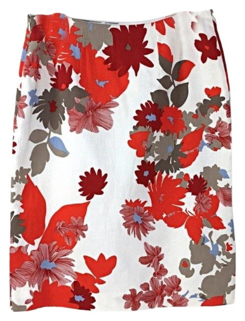 Item - White Red Cotton Floral Pencil Skirt Size 8 (M, 29, 30)