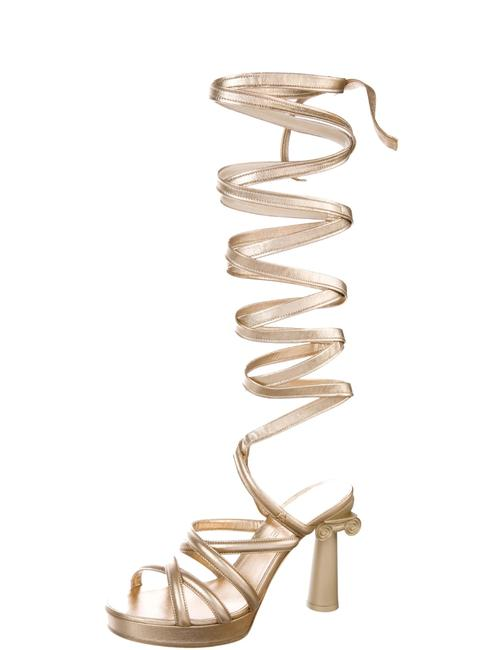Item - Metallic Gold Platform Mules/Slides Size US 8.5 Regular (M, B)