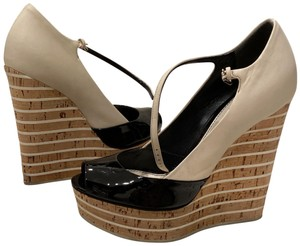 Gucci Cork Colorblock Style black and stone Wedges