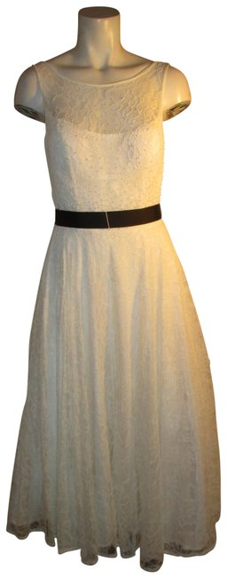 Item - White & Black Sleeveless Sheer Lace Mid-length Cocktail Dress Size 4 (S)