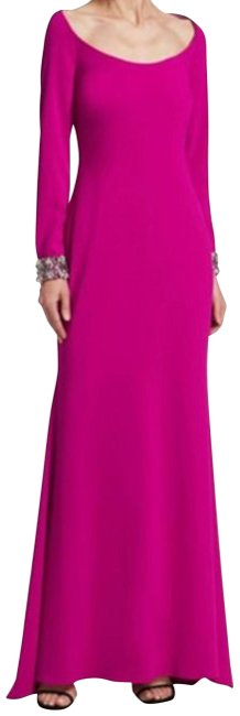 Item - Fuchsia Scoop-neck Embellished-cuff Gown Pop Long Formal Dress Size 12 (L)