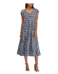 Blue, White Maxi Dress by Chaps Polka Dot Midi Stretchy Comfortable Spring