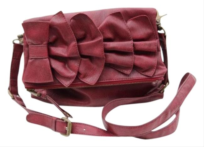 Item - Fold Over Red Faux Leather Cross Body Bag