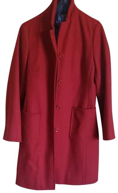 Item - Red Wool Long Coat Size 4 (S)