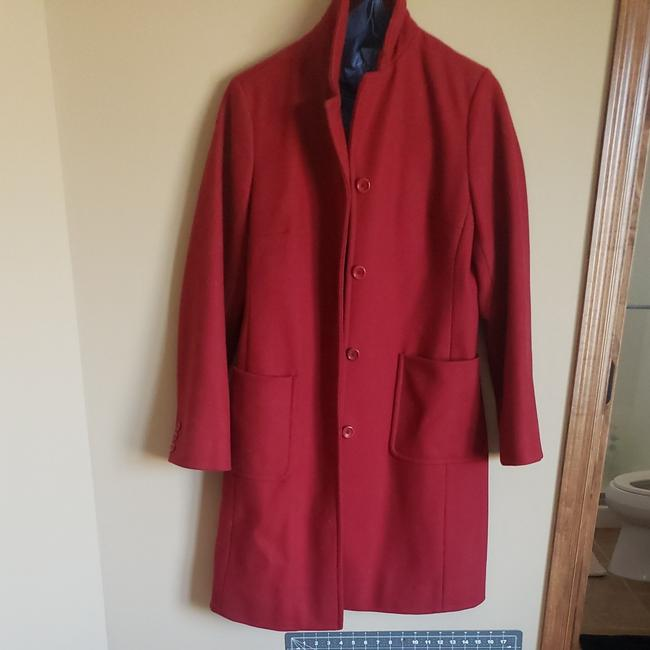 Item - Red Wool Long Peacoat From Boxy Fit Slightly Worn But Nothing Visible Coat Size 4 (S)