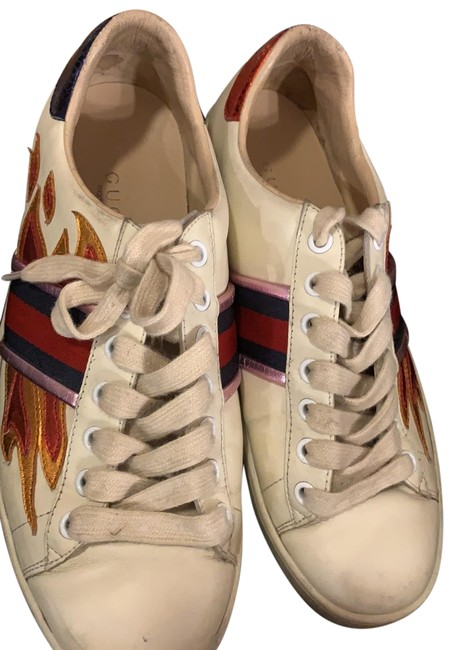 Item - White with Green Red and Pink Ace Flames Style #440724 Sneakers Size US 8 Regular (M, B)