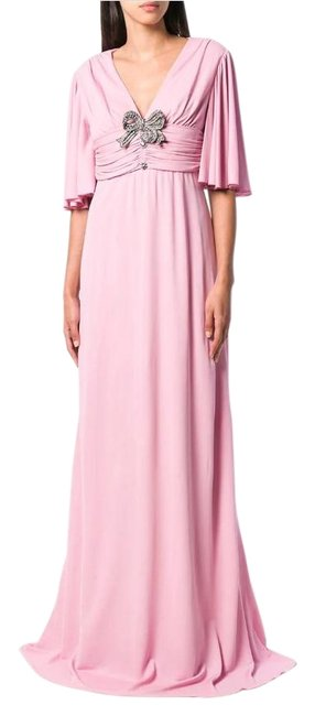 Item - Pink Bow-detail Flared-sleeve Maxi Gown Long Cocktail Dress Size 12 (L)