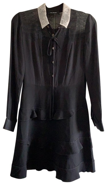 Item - Black With White Collar Mid-length Work/Office Dress Size 4 (S)