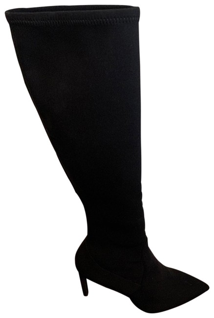 Item - Black Wannessa Knee High Stretch Boots/Booties Size US 9.5 Wide (C, D)