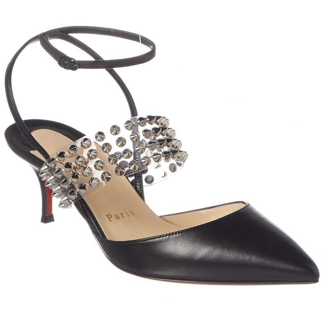 Item - Black Levita 55 Pvc Silver Spike Ankle Strap Kitten Heel Sandal Pumps Size EU 34.5 (Approx. US 4.5) Regular (M, B)
