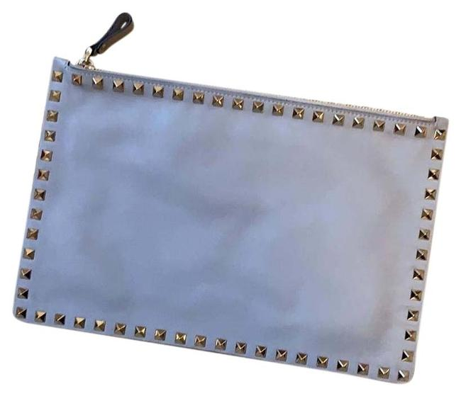 Item - Rockstud Grey Leather Clutch
