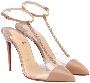 Christian Louboutin Stiletto Ankle Strap Studded Classic Edgy Nude Pumps