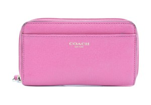 Coach COACH PINK VINYL ZIP AROUND WALLET