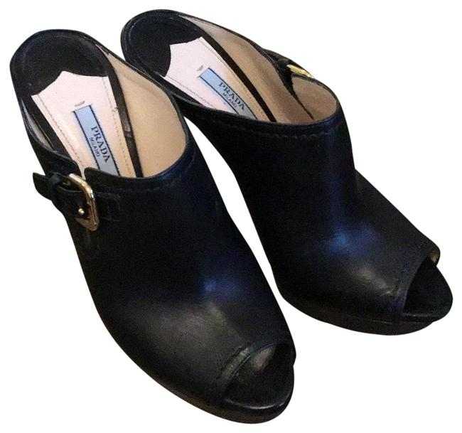 Item - Black Platform Mules/Slides Size EU 38.5 (Approx. US 8.5) Regular (M, B)