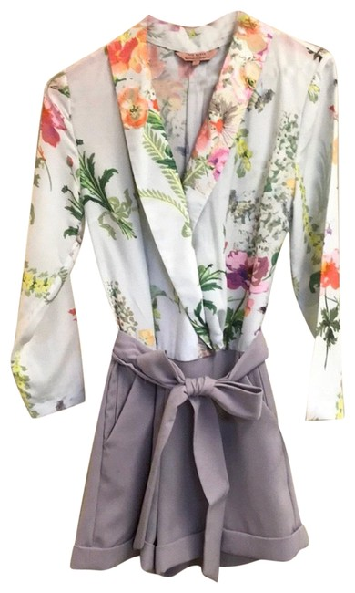 Item - Grey with Mint and Floral Top Romper/Jumpsuit