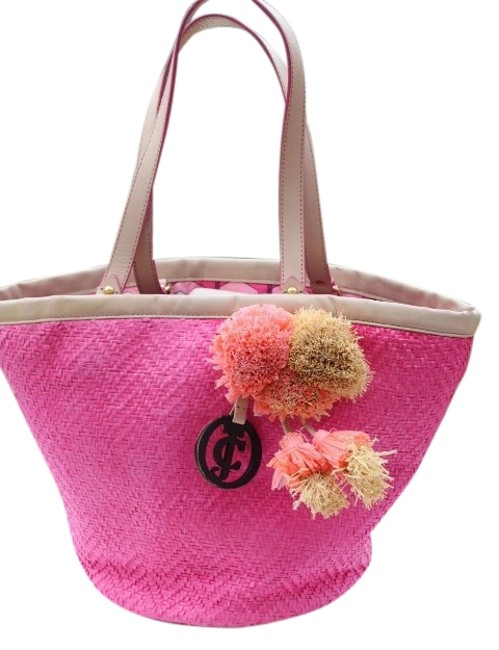 Item - Pink Cream Paper Straw & Leather Tote