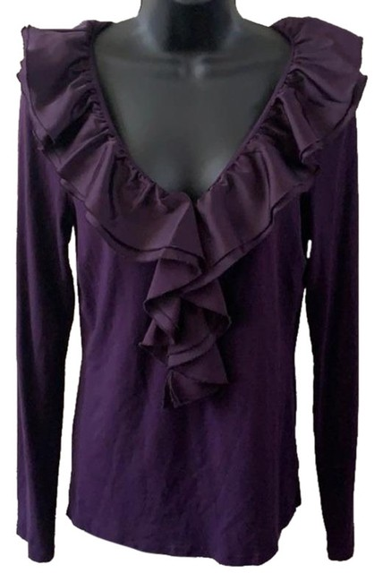Item - Purple Ruffle Long Sleeve T Tee Shirt Size 8 (M)