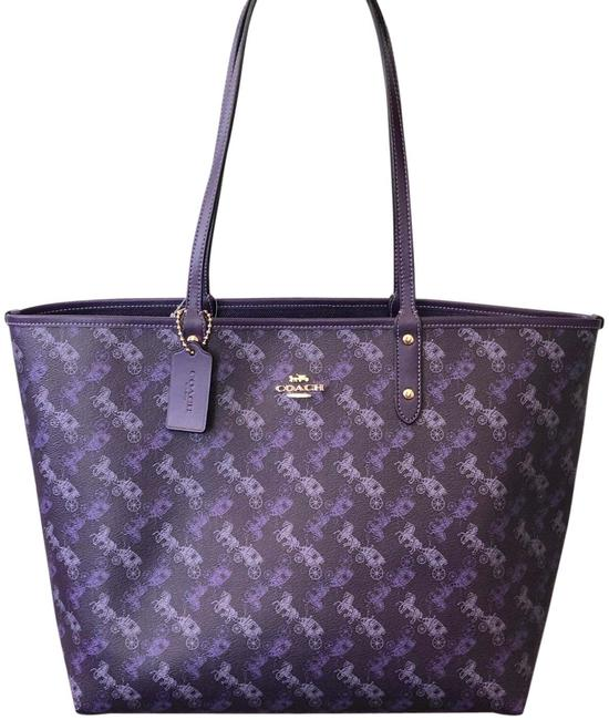 Item - City New Reversible In Purple Leather Tote