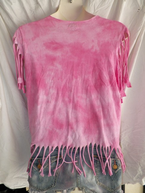 Other Recycled Fashions Eco Gree Hand Altered Custom One Of A Kind Weed Fringed Fashion Felon Vintage Hippie Fashions Womens T Shirt Pinkish
