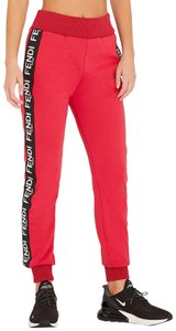Fendi Zucca Monogram Logo Embroidered Forever Athletic Pants Red